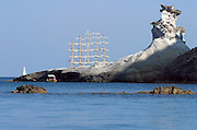 The Royal Clipper anchored near the island.