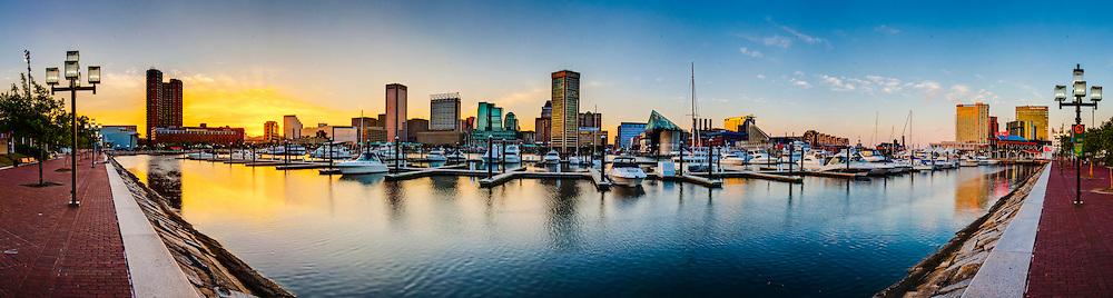 Baltimore Inner Harbor sunset panorama