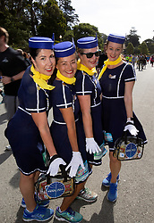 The Pan Am ladies pose for a photo as they fly through Golden Gate Park at the 107th running of the Bay to Breakers, Sunday, May 20, 2018, in San Francisco. (Photo by D. Ross Cameron)
