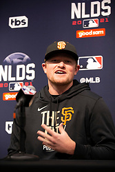 Oct 7, 2021; San Francisco, CA, USA; San Francisco Giants pitcher Logan Webb (62) speaks with reporters during NLDS workouts. Mandatory Credit: D. Ross Cameron-USA TODAY Sports