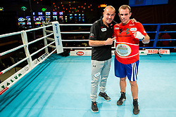 Aljaz Venko  of Slovenia (BLUE) and Dejan Zavec celebrate with Champion's belt  during Dejan Zavec Boxing Gala event in Sentilj, on September 30, 2017 in Mond, Casino & Hotel, Sentilj, Slovenia. Photo by Vid Ponikvar / Sportida