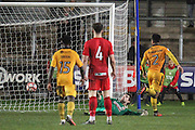 Jazzi Barnum-Bobb of Newport County scores his teams fourth goal, 4-1, during the The FA Cup match between Newport County and Alfreton Town at Rodney Parade, Newport, Wales on 15 November 2016. Photo by Andrew Lewis.