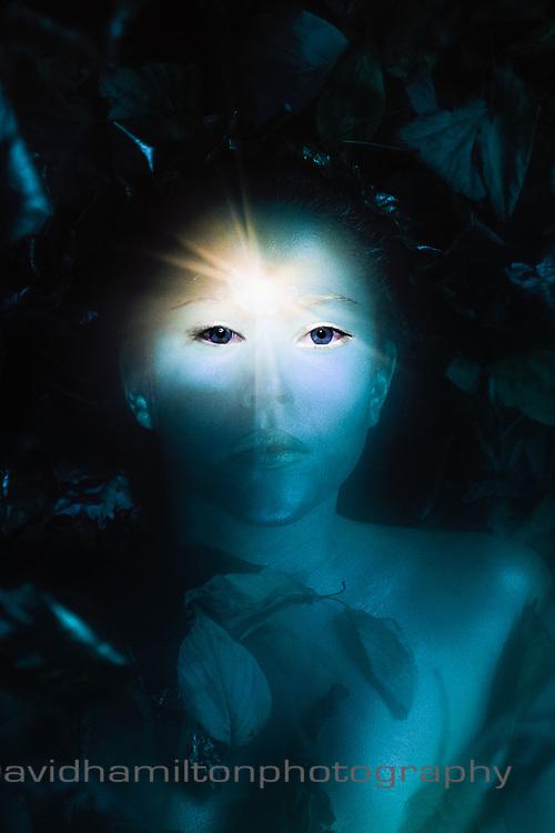 Spiritual third eye opening on blue eyed girl,