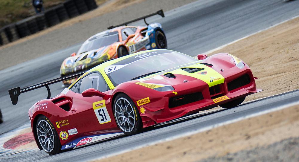 May 6, 2018  Monterey, CA, U.S.A. # 51 Rob Hodes coming out of turn 2 during the Ferrari Challenge Trofeo Pirelli Race 2 at WeatherTech Raceway Laguna Seca Monterey, CA  Thurman James / CSM