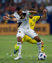 July 7, 2018 - Carson, California, U.S - Ashley Cole #3 of the LA Galaxy battles for the ball during their MLS game with the Columbus Crew on Saturday July 7, 2018 at StubHub Center in Carson, California. LA Galaxy defeats Crew, 4-0. (Credit Image: © Prensa Internacional via ZUMA Wire)