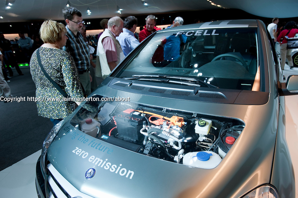 Hydrogen fuel cell powered Mercedes car on display at Frankfurt Motor Show 2009