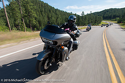 Grand Marshall Ben Bostrum on the Mayors Ride during the annual Sturgis Black Hills Motorcycle Rally.  SD, USA.  August 8, 2016.  Photography ©2016 Michael Lichter.