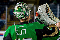 KELOWNA, BC - JANUARY 19:  Ian Scott #33 of the Prince Albert Raiders cools down at the bench during warm up against the Kelowna Rockets at Prospera Place on January 19, 2019 in Kelowna, Canada. (Photo by Marissa Baecker/Getty Images)***Local Caption***