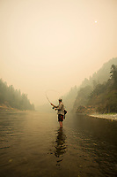 Fly fishing the lower Rogue River in southern Oregon during the fall of 2017. The nearby Chetco Bar fires were burning out of control at this point, producing a great deal of smoke.