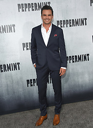 August 28, 2018 - Hollywood, California, U.S. - Juan Pablo Raba arrives for the premiere of the film 'Peppermint' at the Regal Cinemas LA Live theater. (Credit Image: © Lisa O'Connor/ZUMA Wire)