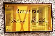 A brass sign outside the restaurant, Restaurant Les Berceaux, Patrick Michelon, Epernay, Champagne, Marne, Ardennes, France