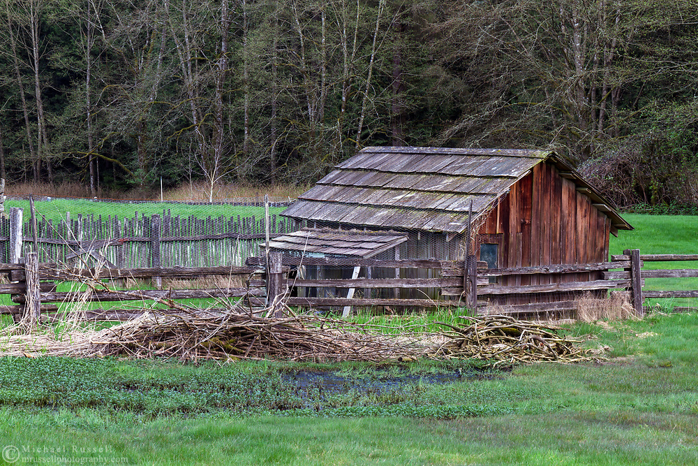 One of the outbuildings on the Annand Rowlatt Farmstead. This land was first farmed  by Joseph and Sarah Anne Annand and later by Len Rowlatt until his death in 1972.  The property is now part of Campbell Valley Regional Park in Langley, British Columbia, Canada.