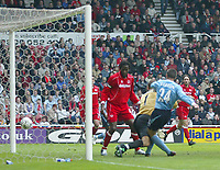 Photo. Andrew Unwin, Digitalsport.<br /> NORWAY ONLY<br /> <br /> Middlesbrough v Manchester City, Barclaycard Premier League, Riverside Stadium, Middlesbrough 08/05/2004.<br /> Manchester City's Joey Barton (r) has his 'goal' disallowed for a foul on Middlesbrough's Mark Schwarzer (c).