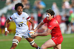 Brittany Benn of Canada in action<br /> <br /> Photographer Craig Thomas/Replay Images<br /> <br /> World Rugby HSBC World Sevens Series - Day 2 - Friday 6rd December 2019 - Sevens Stadium - Dubai<br /> <br /> World Copyright © Replay Images . All rights reserved. info@replayimages.co.uk - http://replayimages.co.uk