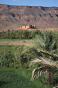 The ksar of Tamnougalt, Draa river valley, Morocco. Clear contrast between the fertile green valley and the barren desert hills.
