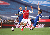 Football - 2020 Emirates 'Heads Up' FA Cup Final - Arsenal vs. Chelsea <br /> <br /> Hector Bellerin (A) is challenged by Andreas Christensen (C), at Wembley Stadium.<br /> <br /> The match is being played behind closed doors because of the current COVID-19 Coronavirus pandemic, and government social distancing/lockdown restrictions.