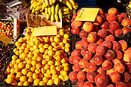Fresh peaches & apricots outside a fruit shop, Corfu, Greek Ionian Islands .<br /> <br /> If you prefer to buy from our ALAMY PHOTO LIBRARY  Collection visit : https://www.alamy.com/portfolio/paul-williams-funkystock/corfugreece.html <br /> <br /> Visit our GREECE PHOTO COLLECTIONS for more photos to download or buy as wall art prints https://funkystock.photoshelter.com/gallery-collection/Pictures-Images-of-Greece-Photos-of-Greek-Historic-Landmark-Sites/C0000w6e8OkknEb8