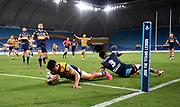 Dylan Brown scores a try.<br /> 2020 NRL Round 02 - Gold Coast Titans v Parramatta Eels, Cbus Super Stadium, 22 March 2020. Digital image by Scott Davis © NRL Photos 2020