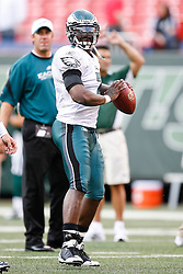 Philadelphia Eagles quarterback Michael Vick #7 warms up before the NFL game between the Philadelphia Eagles and the New York Jets on September 3rd 2009. At Giants Stadium in East Rutherford, NJ.  (Photo By Brian Garfinkel)