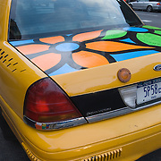 "From September to December 2007, New York City Taxis were painted with bright flowers by children as part of a large public art project. The program, known as ""Garden in Transit"" was organized by a nonprofit group, Portraits in Hope, to provide creative therapy for ill and disabled children."