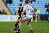 Wasps Fly-half Danny Cipriani (10) passes the ball out  during the Aviva Premiership match between Wasps and Saracens at the Ricoh Arena, Coventry, England on 7 January 2018. Photo by Simon Davies.