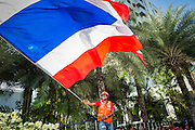 08 MAY 2013 - BANGKOK, THAILAND:  A Thai Red Shirt waves the Thai flag during a protest at the Constitutional Court. A splinter group of the Red Shirts, Thai supporters of exiled Prime Minister Thaksin Shinawatra, have besieged the Thai Constitutional Court for the last three weeks calling for the resignation of the justices, who have indicated they might oppose a proposed constitutional reform which would grant amnesty to people convicted of political crimes since 2007. This would probably include Thaksin. The justices have refused to step down. Wednesday the protesters moved their protest to the Thai Parliament, which is largely powerless to intervene.  PHOTO BY JACK KURTZ