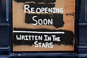 A detail of a shop exterior that will open soon because it's 'Written In The Stars' during the Coronavirus pandemic, at a time when only some retailers and business are re-opening while office workers still largely work from home, on 2nd September 2020, in London, England.