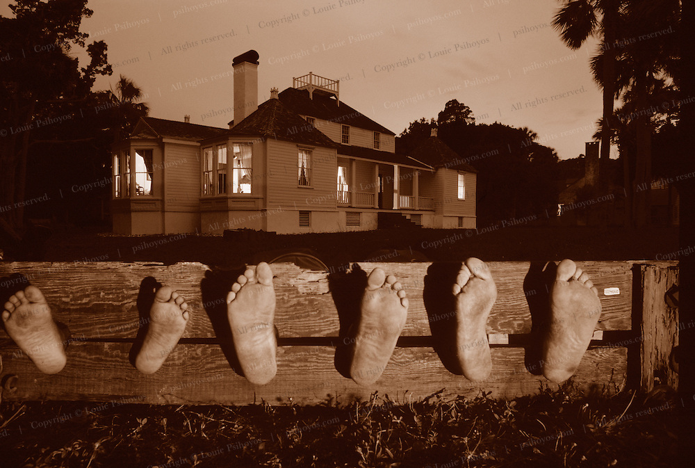Slave Leg Blocks at Kingsley Plantation on Fort george Island in Florida now is a state historic site.  Family in leg irons is the Tillman family.