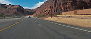 US 191 approaches the Colorado River crossing at Moab, Utah panorama