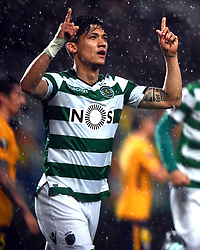 LISBON, April 13, 2018  Fredy Montero of Sporting celebrates scoring during the Europa League quarterfinal second leg soccer match between Sporting CP and Club Atletico de Madrid at the Jose Alvalade stadium in Lisbon, Portugal, on April 12, 2018. Sporting won 1-0 but was eliminated by a 1-2 on aggregate. (Credit Image: © Zhang Liyun/Xinhua via ZUMA Wire)