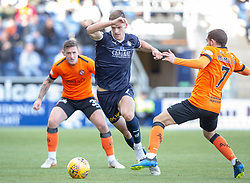 Falkirk's Deimantas Petravicius and Dundee United's Paul McMullan. half time : Falkirk 0 v o Dundee United, Scottish Championship game played 22/9/2018 at The Falkirk Stadium.