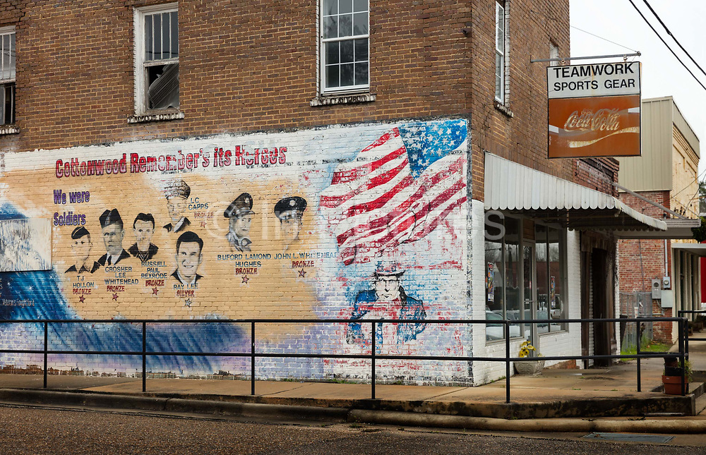 World War 2 Veterans Memorial Mural, on a closed store on 5th March 2020 in Cottonwood, Alabama, United States of America.