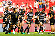 Hull FC loose forward and captain Gareth Ellis (13) leads his team onto the pitch during the Ladbrokes Challenge Cup Final 2017 match between Hull RFC and Wigan Warriors at Wembley Stadium, London, England on 26 August 2017. Photo by Simon Davies.