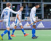 AMSTELVEEN - Terrance Pieters (Kampong)  neemt de strafcorner en scoort   tijdens   hoofdklasse hockeywedstrijd mannen, Pinoke-Kampong (2-5) . COPYRIGHT KOEN SUYK