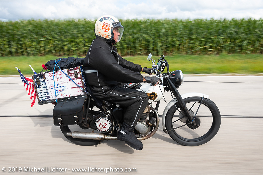 Scott Funk riding his 1946 BSA model C-11 in the Cross Country Chase motorcycle endurance run from Sault Sainte Marie, MI to Key West, FL (for vintage bikes from 1930-1948). Stage 3 from Milwaukee, WI to Urbana, IL. USA. Sunday, September 8, 2019. Photography ©2019 Michael Lichter.