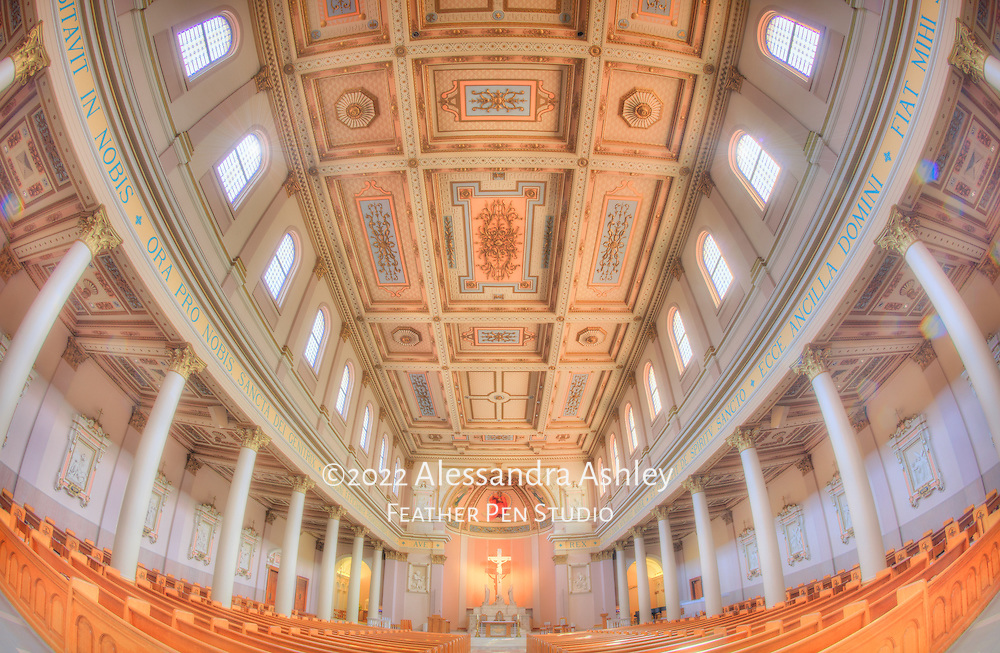 Light-flooded, ornate interior of Nashville, Tennessee's historic Cathedral of the Incarnation, photographed with fisheye perspective.