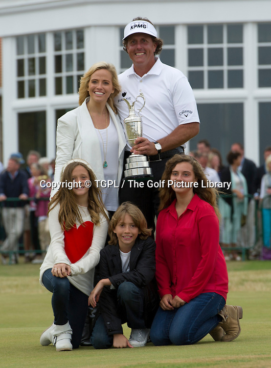 Open Champion Phil MICKLESON (USA) with his wife Amy and children Sofia,Evan and Amanda during fourth round Open Championship 2013,Muirfield,Gullane,East Lothian,Scotland.