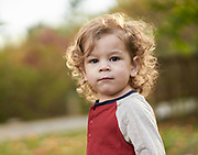 Boy looking at camera during a fall photo session at Acton Arboretum.