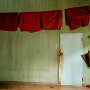 Monk red robes drying at monastery