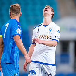 BRISBANE, AUSTRALIA - SEPTEMBER 20: Marcus Schroen of South Melbourne reacts to a missed shot on goal during the Westfield FFA Cup Quarter Final match between Gold Coast City and South Melbourne on September 20, 2017 in Brisbane, Australia. (Photo by Gold Coast City FC / Patrick Kearney)