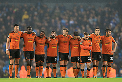 24th October 2017 - Carabao Cup (4th Round) - Manchester City v Wolverhampton Wanderers - Wolves players stand together during the shootout - Photo: Simon Stacpoole / Offside.