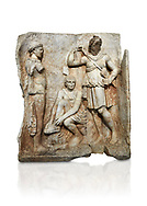 Roman Sebasteion relief  sculpture of Meleager and Atalante  Aphrodisias Museum, Aphrodisias, Turkey.    Against a white background.<br /> <br /> Meleager sits on a rock tying his sandal. Below him lies a fierce hunting dog with a broad collar. On one side a god or another hero wearing a rounded hat was crowning Meleager ( arm missing). On the other side stands the huntress Atalante, Meleager's lover: she wears a short dress and quiver, and lifts her cloak at the shoulder in a gesture of modesty. .<br /> <br /> If you prefer to buy from our ALAMY STOCK LIBRARY page at https://www.alamy.com/portfolio/paul-williams-funkystock/greco-roman-sculptures.html . Type -    Aphrodisias     - into LOWER SEARCH WITHIN GALLERY box - Refine search by adding a subject, place, background colour, museum etc.<br /> <br /> Visit our ROMAN WORLD PHOTO COLLECTIONS for more photos to download or buy as wall art prints https://funkystock.photoshelter.com/gallery-collection/The-Romans-Art-Artefacts-Antiquities-Historic-Sites-Pictures-Images/C0000r2uLJJo9_s0