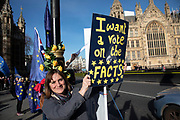 Anti Brexit pro Europe demonstrators protest in Westminster opposite Parliament as MPs debate and vote on amendments to the withdrawal agreement plans on 14th February 2019 in London, England, United Kingdom.