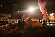 The Energizer Bunny at The Macy's Balloon Inflation session held at West 79th and Central Park West on November 26, 2008 in New York City..A tradition since 1927, the giant character balloons are slowly blown up and brought to life in the streets around the American Museum of Natural History. The enormous balloons take up two full city blocks. Nets and sandbags are used to keep the balloons from escaping during the night.