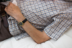 © Licensed to London News Pictures. 09/04/2014<br /> <br /> Durham, United Kingdom<br /> <br /> Parkinson's Disease sufferer David Forsyth from Brandon, County Durham lies down during a particularly bad onslaught of shaking during a stay in a care home.<br /> <br /> These visits to a care home are becoming more frequent as the demands on him and his wife who provides full time care to him begins to take a toll.<br /> <br /> Parkinson's is a long-term neurological condition that affects the way the brain co-ordinates body movements including walking, talking and writing and affects both men and women.<br /> <br /> Photo credit : Ian Forsyth/LNP