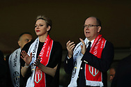 PRINCE ALBERT of MONACO and PRINCESS CHARLENE of MONACO applaud during the team official presentation ahead of the UEFA Champions League semi final football match, 1st leg, between AS Monaco and Juventus FC on May 3rd, 2017 at Louis II Stadium in Monaco. - Photo Manuel Blondeau / AOP Press /