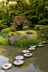 Stepping stones across ponds in Isui en traditional Garden in Nara Japan