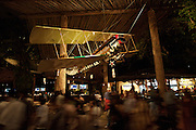 Night Safari Singapore. Double decker plane suspended at the entrance hall.