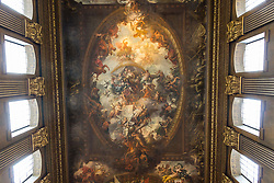 © Licensed to London News Pictures. 25/09/2016. LONDON, UK.  The main hall ceiling at the Painted Hall. The 300 year old Painted Hall by James Thornhill at the Old Royal Naval College closes today for two years. Major restoration work to remove layers of dirt to the fine dining room will be undertaken in the main hall, ceiling and dome. The project has been awarded a £3.1m Heritage Lottery grant.  Photo credit: Vickie Flores/LNP