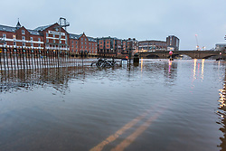© Licensed to London News Pictures. 05/02/2021. York UK. The River Ouse in York city centre has continued to rise over night after breaking its banks yesterday & in now at a height of 3.38m the river is expected to rise further as recent snow melts. Photo credit: Andrew McCaren/LNP